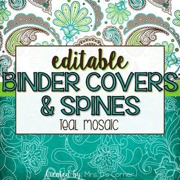Editable Binder Covers ( Teal Mosaic )