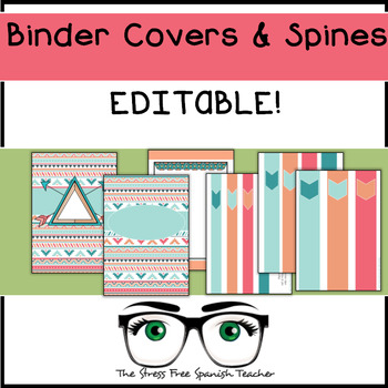Editable Binder Covers and Spines, Aztec / Boho Style!