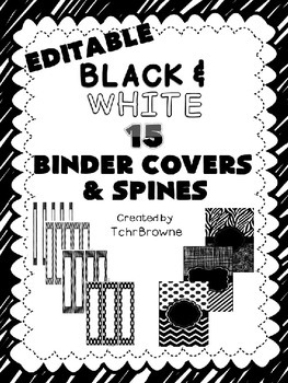 Editable Binder Covers and Spines - Black and White Collection