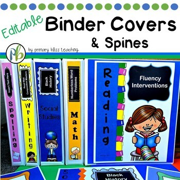 Editable Binder Covers and Spines (Subject-Related and Gen