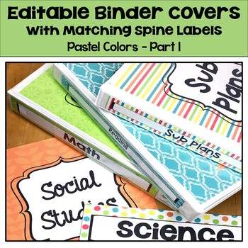 Editable Binder Covers & Spines in Pastel Colors - Part 1