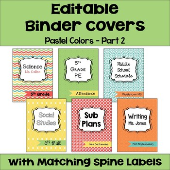 Editable Binder Covers & Spines in Pastel Colors - Part 2