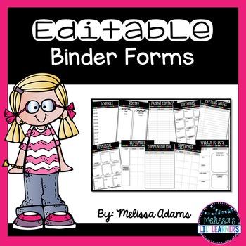 Editable Binder Forms