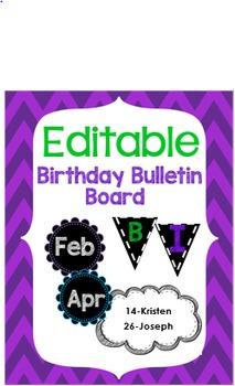 Editable Birthday Bulletin Board Chalkboard Themed