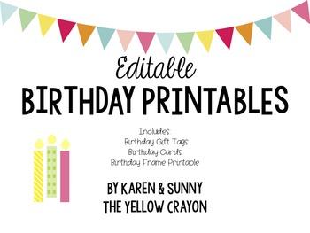 Editable Birthday Printables