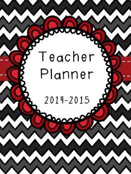Editable Black Chevron Teacher Planner