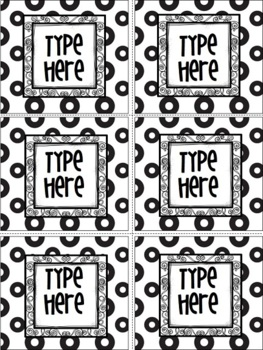 Editable Labels - Black & White Polka Dots And Curly Frame