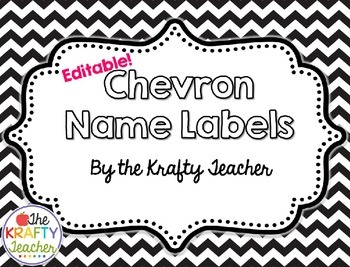 Editable Black and White Chevron Name Labels - Back to School