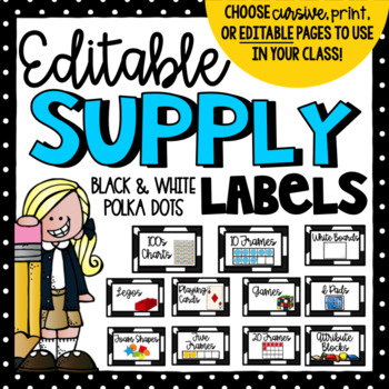 Editable Black and White Supply Labels- Classroom Decor