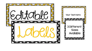 Editable Black and Yellow Labels
