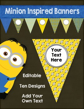 Editable Blue and Yellow Pennants inspired by Minions