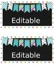 Editable Blue polka dot, striped bunting Container Labels