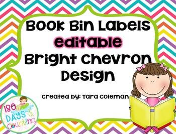 Book Bin Labels~Editable (bright chevron)