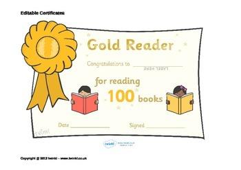 Editable Book Reading Certificates