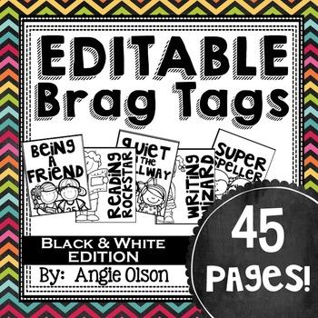 Brag Tags Editable (Black & White)