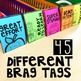 Editable Brag Tags with School Images-black & white (45 te