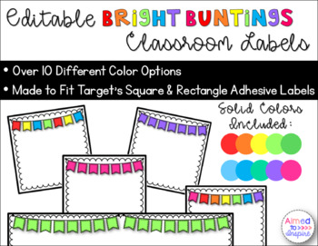 Bright Buntings Classroom Labels {Editable}