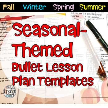 SEASONAL Editable Bullet Lesson Plan Templates Growing Bundle