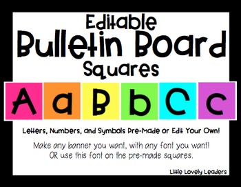 Editable Bulletin Board Letters and Numbers Squares - Crea