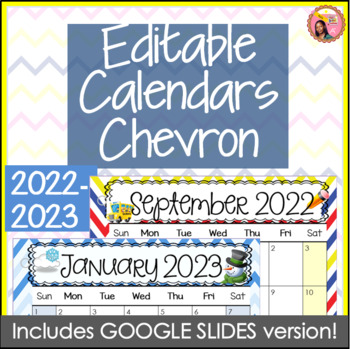 Editable Calendars 2016-2017 Chevron - August 2016 to Dece