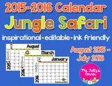 Editable Calendars: Jungle Safari Animals