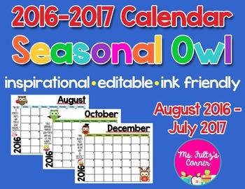 Editable Calendars: Owls