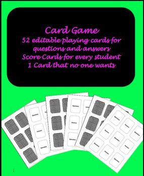 "Editable ""Old Maid"" Card Game"