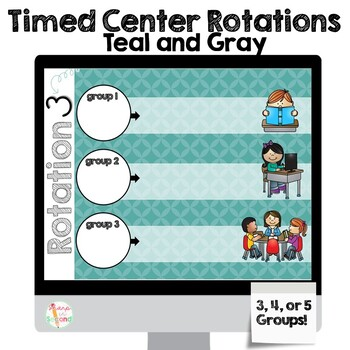 Editable Center Rotations PowerPoint - Teal and Gray Theme