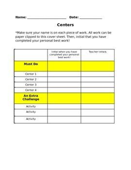 Centers Checklist (Editable!)