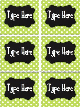 Editable Labels - Chalkboard & Bright Green Polka Dot