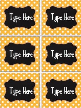 Editable Labels - Chalkboard & Bright Orange Polka Dot