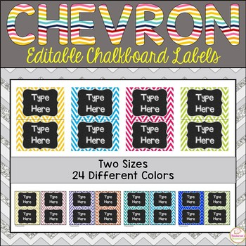 Editable Labels -Chalkboard & Chevron