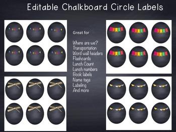 Editable Chalkboard Circle Labels