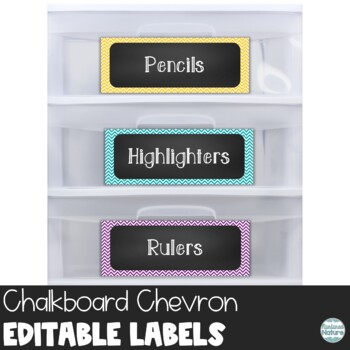 Editable Chalkboard Classroom Supply Labels - Chevron Printable