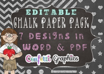 Editable Chalkboard Digital Papers With Frame Chevron Chal