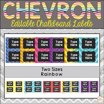 Editable Labels - Chalkboard & Rainbow