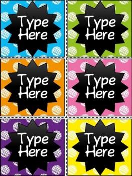 Editable Labels - Chalkboard & Scribble Polka Dot