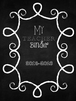 Editable Chalkboard Themed Teacher Binder
