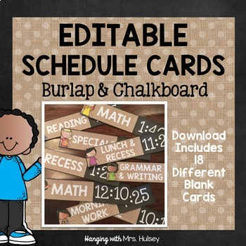 Editable Chalkboard and Burlap Schedule Cards