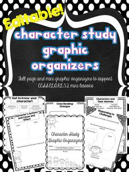 Editable Character Study Graphic Organizers {CC Aligned}