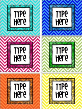 Editable Chevron And Curly Frame Labels