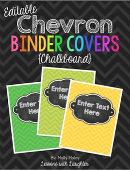 Editable Chevron Binder Covers {Chalkboard}