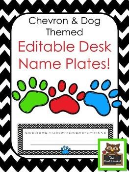 Editable Chevron Dog Paws Desk Name Plates *Primary*