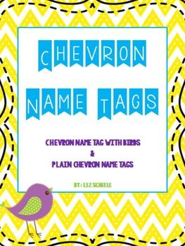 Editable Chevron Name Tags- Plain Chevron and Bird Theme