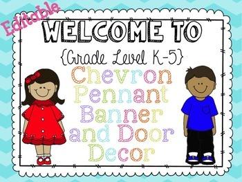 {Editable} Chevron Pennant Banner and Door Decor Pack!