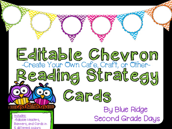 Editable Chevron Reading Strategy Cards: CRAFT, CAFE, or M