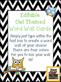 Editable Chevron Rectangular Owl Themed Word Wall Cards!