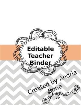 Editable Chevron Teacher Binder/Notebook **Freebie**