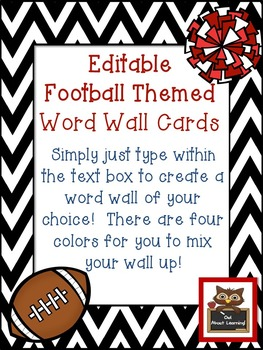 Editable Chevron and Football Themed Rectangular Word Wall Cards
