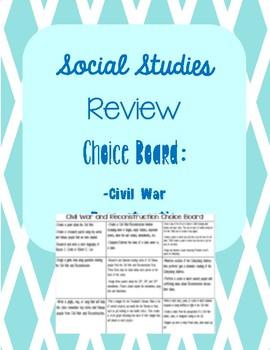 Editable Choice Board for Social Studies Test Prep Review